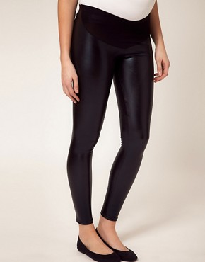 Image 4 ofASOS Maternity Wet Look Legging
