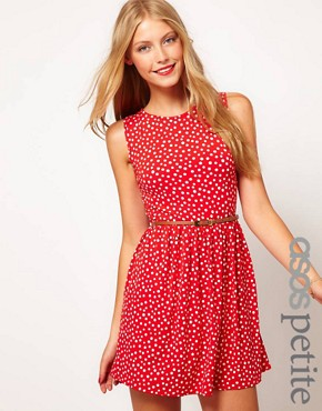 Image 1 ofASOS PETITE Exclusive Spot Skater Dress With Belt