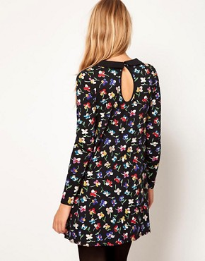 Image 2 ofASOS Swing Dress In Floral Print With Peter Pan Collar