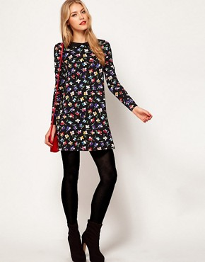 Image 4 ofASOS Swing Dress In Floral Print With Peter Pan Collar