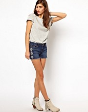 Very By Vero Moda Denim Shorts With Embroidery