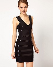 French Connection Sequin Panel Body Con Dress