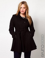 ASOS CURVE - Cappotto svasato con corpino aderente