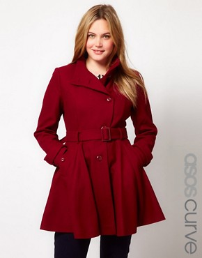 Image 1 ofASOS CURVE Fit And Flare Coat