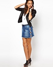 River Island Aztec Embroidered Denim Skirt
