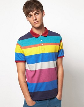 Image 1 ofASOS Polo With All Over Printed Stripe