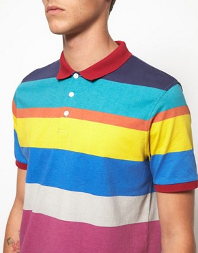Image 3 ofASOS Polo With All Over Printed Stripe