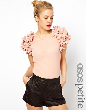 Image 1 of ASOS PETITE Exclusive Top with 3D floral sleeves