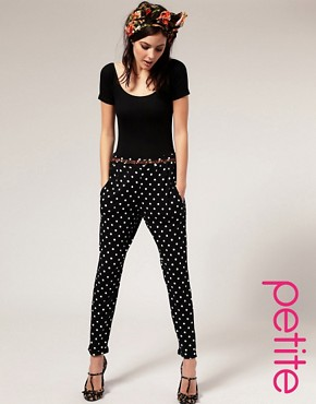 Image 1 - ASOS PETITE - Pantalon carotte en jersey  pois