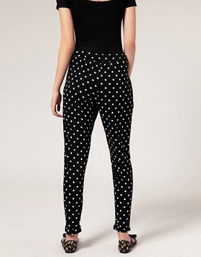 Image 2 - ASOS PETITE - Pantalon carotte en jersey  pois
