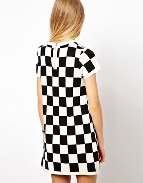 Image 2 ofASOS PETITE Exclusive Mini Dress in Checkerboard