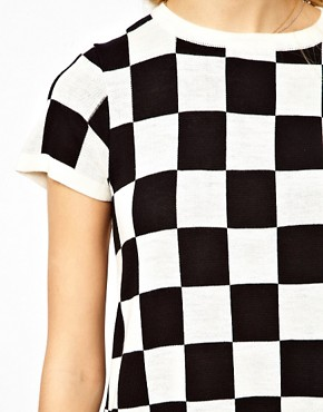 Image 3 ofASOS PETITE Exclusive Mini Dress in Checkerboard