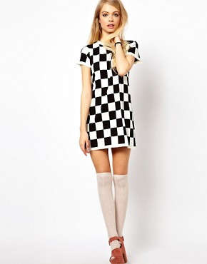 Image 4 ofASOS PETITE Exclusive Mini Dress in Checkerboard