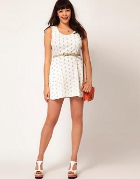 Image 4 ofASOS CURVE Exclusive Structured Dress In Anchor Print