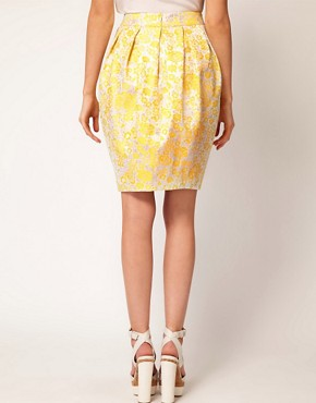 Image 2 ofASOS Premium Bell Skirt in Yellow Floral
