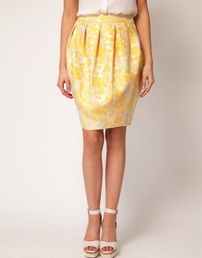 Image 4 ofASOS Premium Bell Skirt in Yellow Floral
