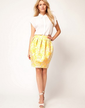 Image 1 ofASOS Premium Bell Skirt in Yellow Floral