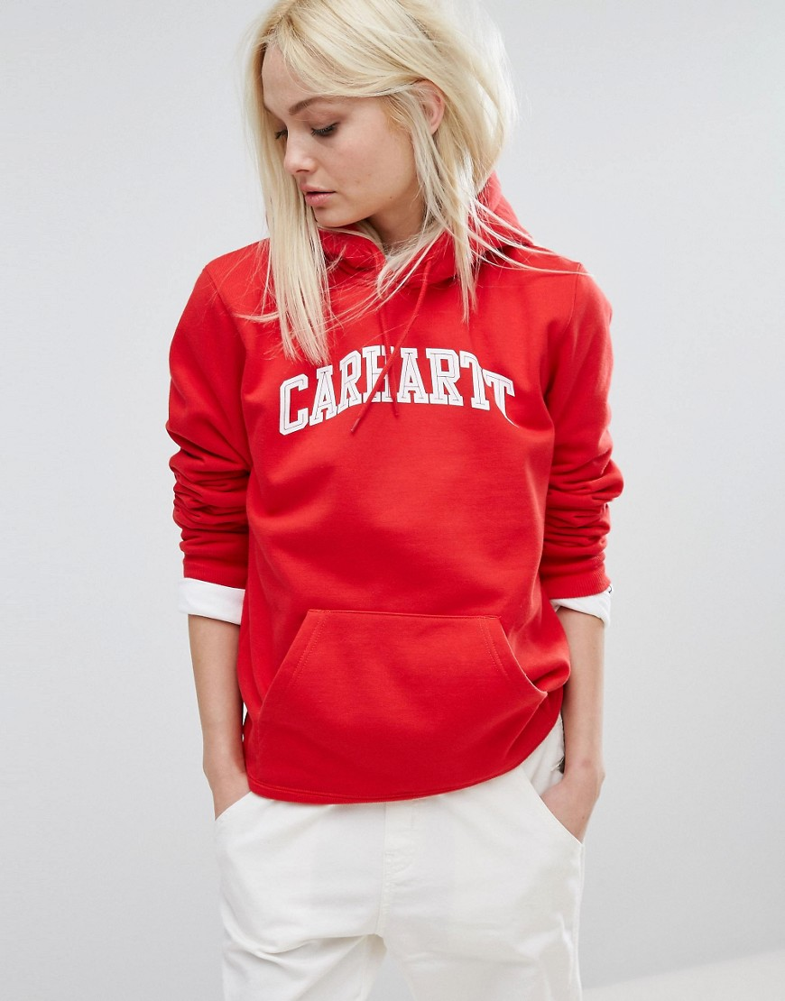 Carhartt WIP Oversized Boyfriend Hoodie With Text Logo - 66990 chili/white