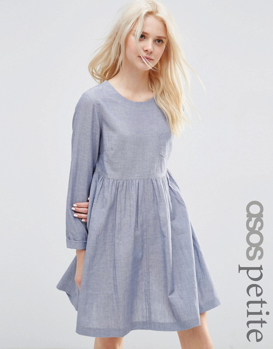 ASOS PETITE Long Sleeve Chambray Smock Dress - Blue