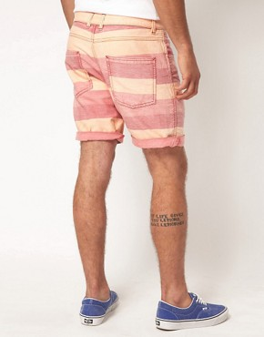 Image 2 ofASOS Stripe Shorts With Oxford Fabric