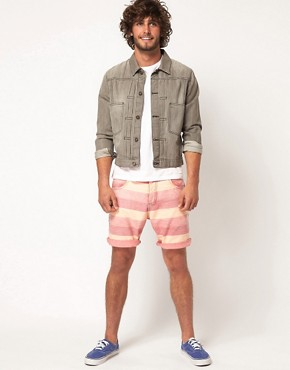 Image 4 ofASOS Stripe Shorts With Oxford Fabric
