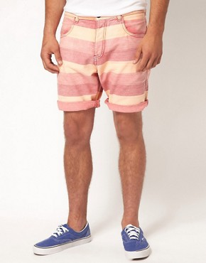 Image 1 ofASOS Stripe Shorts With Oxford Fabric
