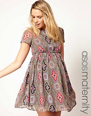 ASOS Maternity Skater Dress In Paisley Print