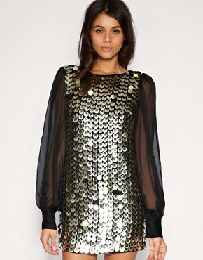 Image 1 ofASOS Chiffon Sleeve Embellished Tunic