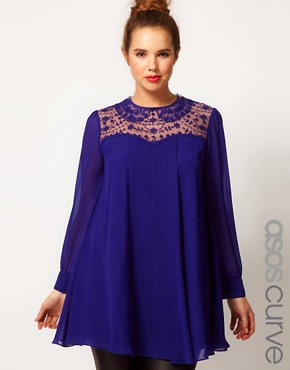 Image 1 ofASOS CURVE Swing Tunic With Lace Insert