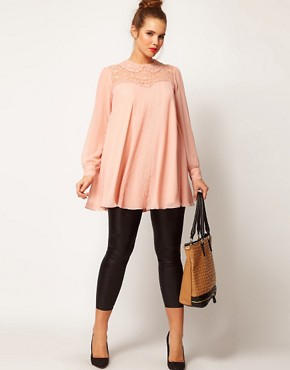 Image 4 ofASOS CURVE Swing Tunic With Lace Insert