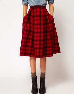 Image 4 ofASOS Check Midi Skirt
