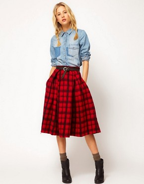 Image 1 ofASOS Check Midi Skirt