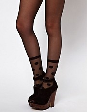 ASOS Sheer Spotted Mock Sock Tights