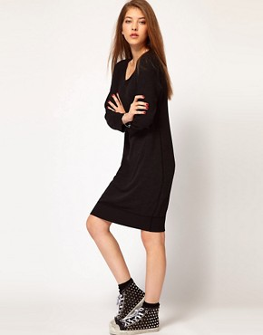 Image 1 ofJames Perse Raglan Sweatshirt Dress in Slub Terry Jersey
