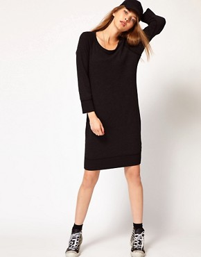 Image 4 ofJames Perse Raglan Sweatshirt Dress in Slub Terry Jersey