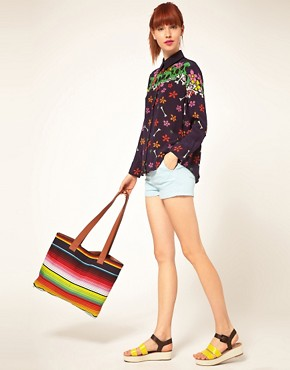 Image 3 of House Of Holland Multi Stripe Shopper Bag