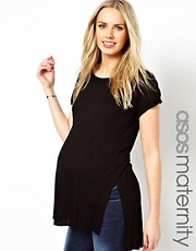 ASOS Maternity T-Shirt With Slit Side And Stepped Hem