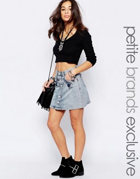 Glamorous Petite Mini Denim Skirt With Floral Embroidery
