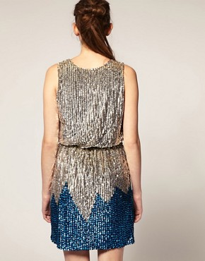 Image 2 ofASOS REVIVE Sequin Wrap Front Mini Dress