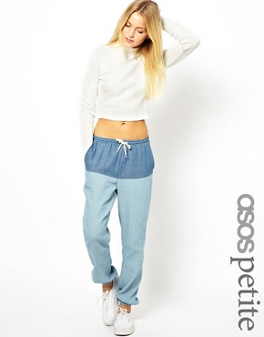 Image 2 ofASOS PETITE Exclusive Denim Look Trousers
