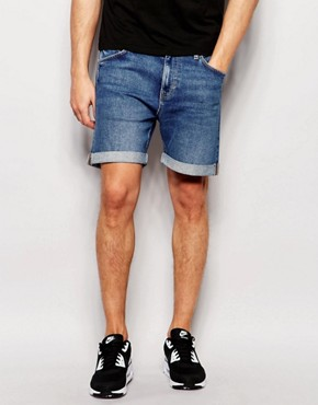 Weekday Beach Slim Denim Shorts in Cricket Blue Mid Wash