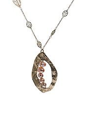 Sam Ubhi Leaf and Disc Necklace with Pearls