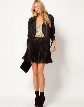 Image 1 of Oasis Wet Look Pleat Skirt