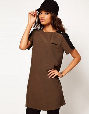 Image 1 of ASOS T-Shirt Dress with Embellished Shoulder Detail