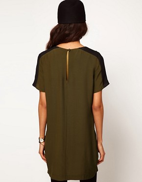 Image 2 of ASOS T-Shirt Dress with Embellished Shoulder Detail
