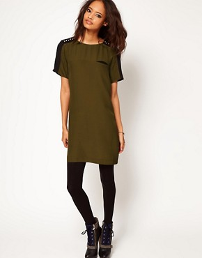 Image 4 of ASOS T-Shirt Dress with Embellished Shoulder Detail
