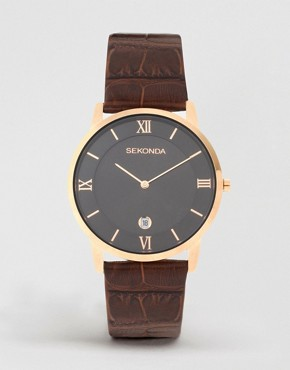Image 1 ofSekonda Brown Leather Watch