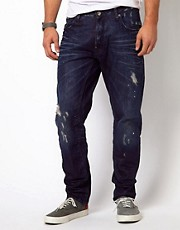 G Star - A-Crotch - Jeans regular stretti in fondo a lavaggio scuro effetto consumato