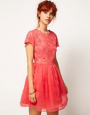 ASOS SALON Skater Dress with Applique Flower Top
