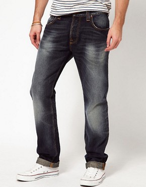Image 1 ofNudie Jeans Hank Rey Straight Fit Indigo Depth